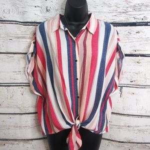 Love Notes / Striped Button Up/ X-Large
